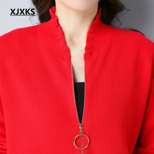 Image 3 - XJXKS Autumn And Winter Women Sweater Coat Knitted Women Cardigans Solid Jacket Zipper Long Sleeve Elegant Sweater Coats