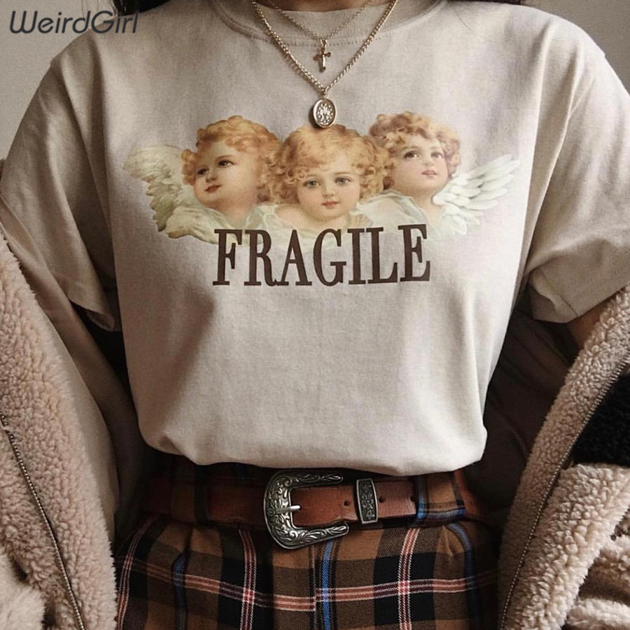 Weirdgirl Women Baby Angel Printing Casual Fashion T-shirts letter Short Sleeve O-Neck Khaki Loose Female Tees Summer New 19 15