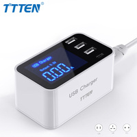 TTTEN Smart LED Display 4 Port USB Type C Fast Charger Phone Adapter Charger Desktop Strip