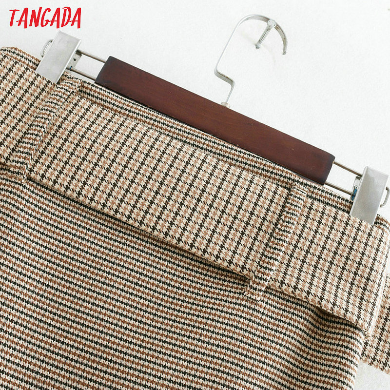 Tangada fashion women plaid skirt vintage work office ladies skirt with belt mujer retro mid calf skirts BE175 13