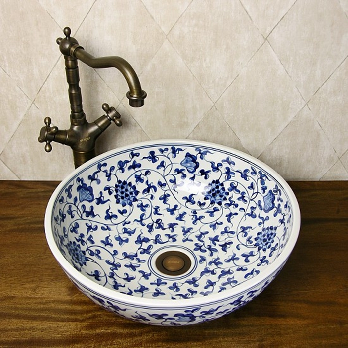 Oriental Hand Painted Blue And White Ceramic Porcelain Bathroom Sinks stately gold silver color art porcelain ceramic bathroom sinks