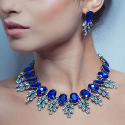 Best lady New Maxi Rhinestone Bib Collier Femme Beads Collar Chokers Pendant Statement Necklace for Women Choker Jewelry 3512