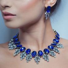 Best lady New Maxi Rhinestone Bib Collier Femme Beads Collar Chokers Pendant Statement Necklace for Women Choker Jewelry 3512
