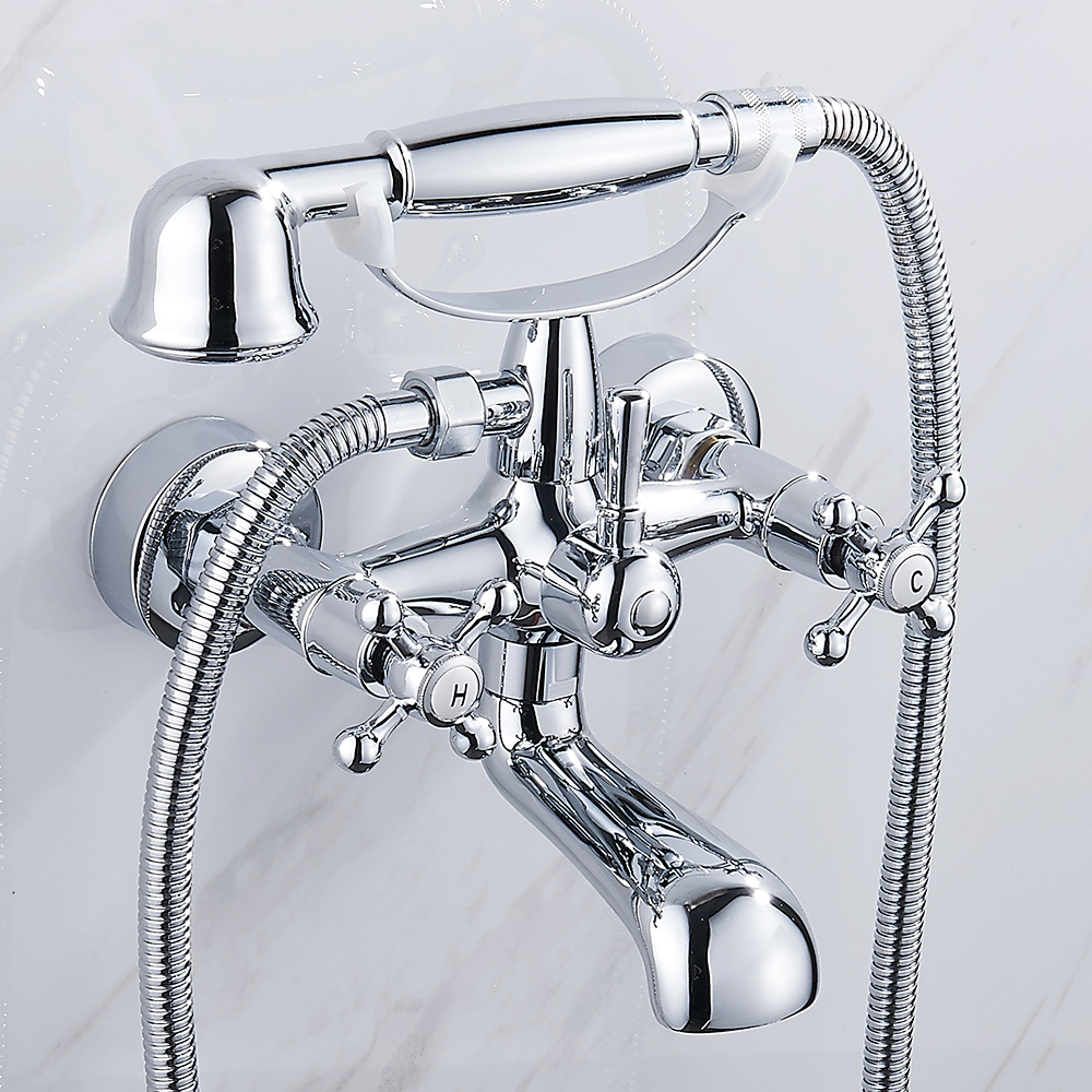 New Design Bathroom Shower Faucet With Handheld Shower Head Bathtub Hot and Cold Water Mixer Tap Chrome Torneira china sanitary ware chrome wall mount thermostatic water tap water saver thermostatic shower faucet