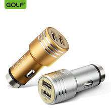 цена на 100% GOLF Metal Bullet Car Charger 2.1A & 1.0A Dual USB Output Fast Charging For iPhone 4S 5 6 7 Samsung S4 S5 S6 S7 LG G3 G4 G5