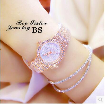 brand Women Rhinestone Watches Rose Gold Dress Watches Full Diamond Crystal Wome