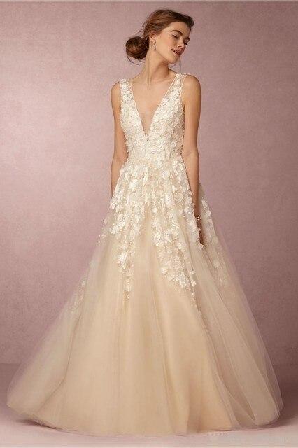 2016 Romantic A Line 3D Floral Wedding Dresses Deep V Neck ...