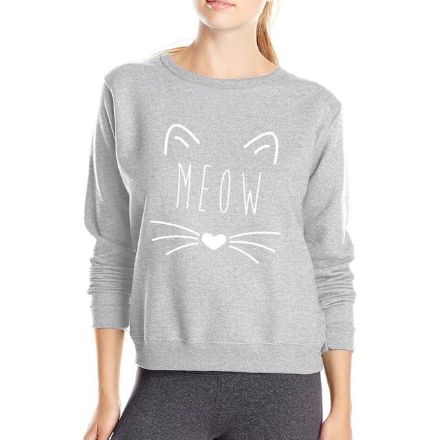 2017 Autumn Winter Hoodie Women Kawaii Cat Meow Kitty Sweatshirt Fleece High Quality Sportswear Long Sleeve O-Neck Pullovers