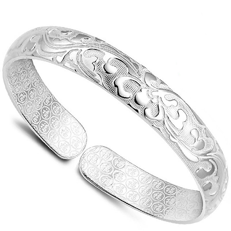 silver cuff bracelet Fine 999 silver bangle bracelet female models blossoming millipede jewelry купить недорого в Москве