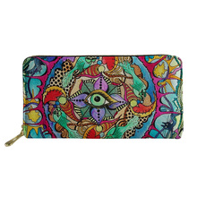 ФОТО noisydesigns women long purse geometric irregular hippie mandala femal purses canta travel money id cardholders coins organizer