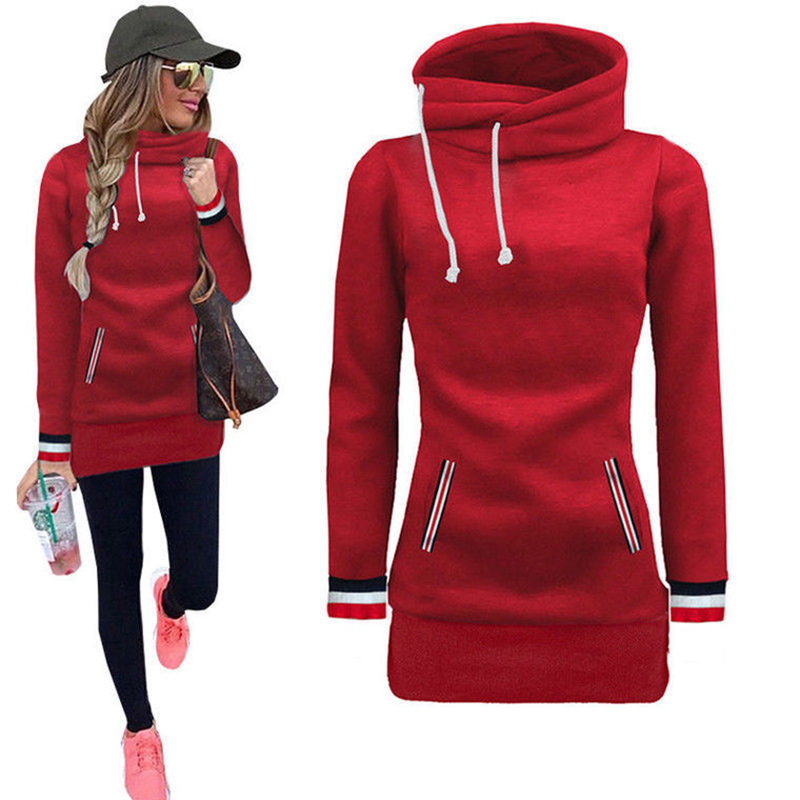 Winter Autumn 2017 Women Hoodies Dress Turtleneck Pullovers Loose Casual Long Sweatshirt For Women Tracksuit Tops 2 Pocket Hoody