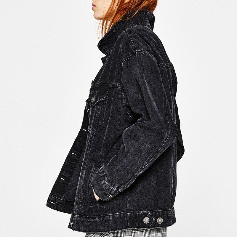 Women Ooversized boyfriend Denim Jackets Solid 2018 Spring Streetwear Solid Jeans Jackets Women Denim Jackets And   Coat