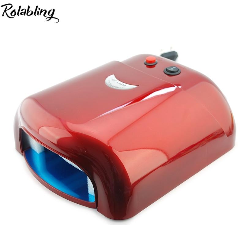 2017 Rolabling Rose UV Led Lamp 36W 220-240V Gel Curing Nail Art (EU Plug) With 4pcs 365nm UV Bulb DIY Tools Dropshipping rolabling 110v