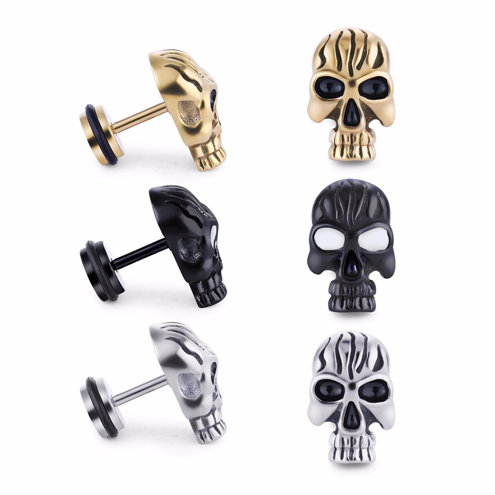 2pcs Lot Punk Stud Earrings For Men Hypoallergenic Stainless Steel Skull Earring High Quality Mens Gift Es259 In From Jewelry