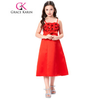 Free Shipping 1pc Lot Grace Karin Red Actual Picture Spaghetti Strap Flower Girl Princess Wedding Pageant
