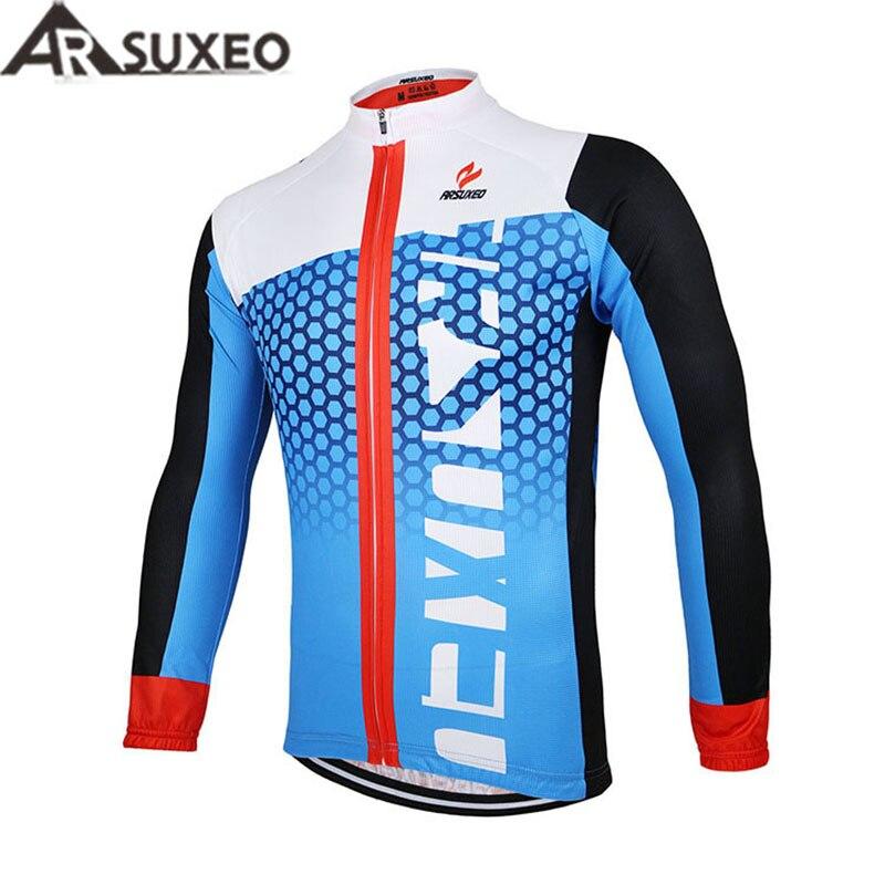 2017 ARSUXEO Men Cycling <font><b>Jersey</b></font> Bike Bicycle Long Sleeves Mountain MTB <font><b>Jersey</b></font> Clothing Shirts ZLJ21-Q