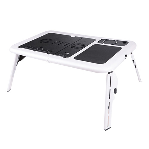 HOT-Foldable Portable Laptop Desk Table Stand Bed Tray Dual Fans