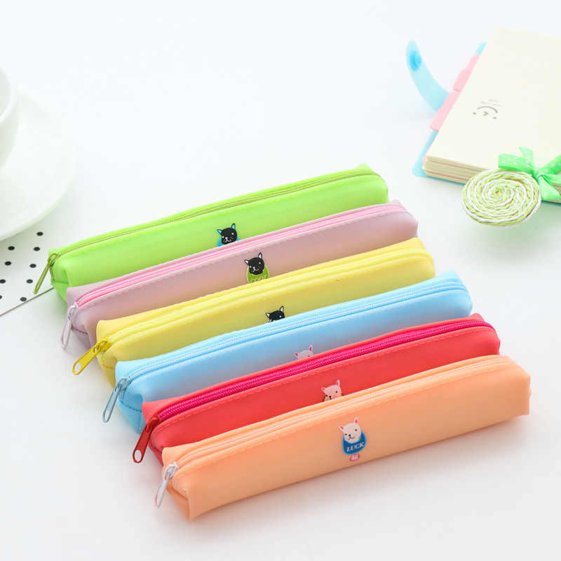 Cute Dog Pencil Cases Etui Kawai Silicone Slim Pencil Bag Box Cute Pen Case For Kids Bts Korean Stationery School Supplies