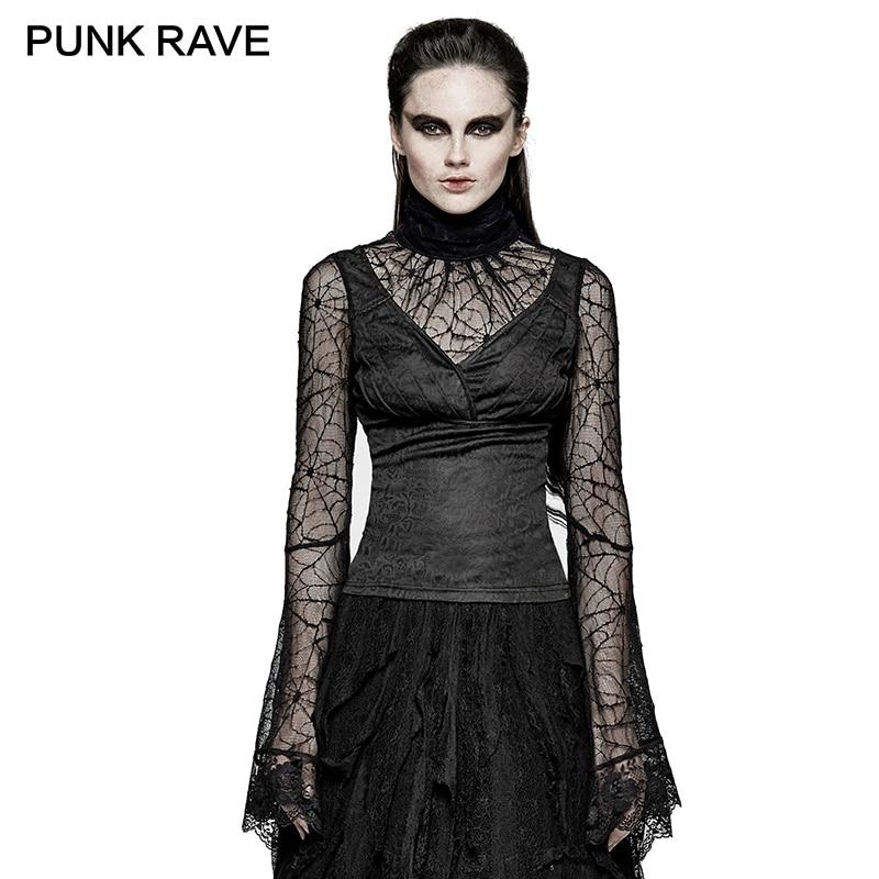 Gothic Schwarz Damen Sexy Spitze Verstellbare Bandage T shirt Halloween Spider Web Lang Flare Sleeve Shirts Tops Tees PUNK RAVE T 449 - 2