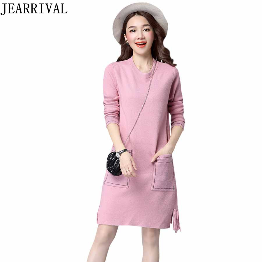 2017 New Winter Dress Women Long Sleeve O-Neck Knitted Dress Casual Fashion Tassel Pockets Loose Sweater Dresses Vestidos Mujer knitted winter dress mini dresses for women tunic vestidos round neck long sleeve loose casual basic ws5018u