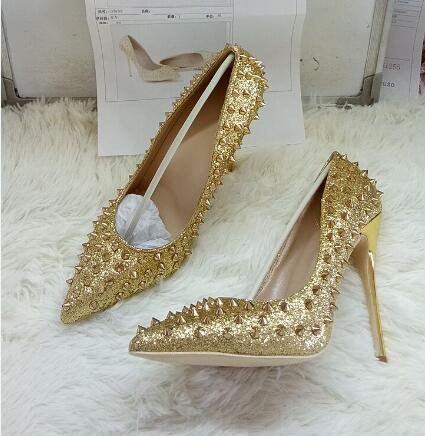 Women Gold Bling Bling High Heel Pumps Rivets Decoration Pointed Toe Metal Heel Dress Shoes Slip On Shallow Pumps Office Lady women gold silver leather white pearls decoration pumps summer fashion pointed toe slip on dress shoes high thin heel shoes
