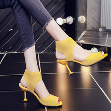 Women Fashion Sandals Open Toe Fish Mouth Roman New Style Stretch Knit Stiletto Sexy High Heels Gladiator Evening Shoes