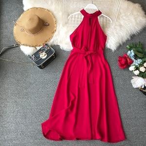 Image 2 - FMFSSOM Women Sexy Hanging Neck Dress 2020 New Summer Ladys O Neck Sleeveless With Belt Medium Long Slim Dresses