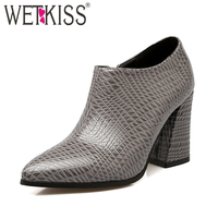 WETKISS Big Size 34 43 Fashion Women Shoes Side Zip Thick High Heels Pointed Toe Pumps