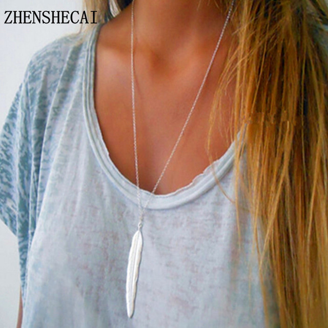 2017 New Fashion womens vintage long necklace jewelry silver color simple feather pendant necklaces colar Jewelry gifts X155