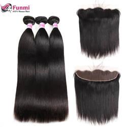Фунми Бразильский прямые волосы Связки с фронтальной 3 Связки с фронтальной 100% натуральная человеческих волос Связки с Фронтальная