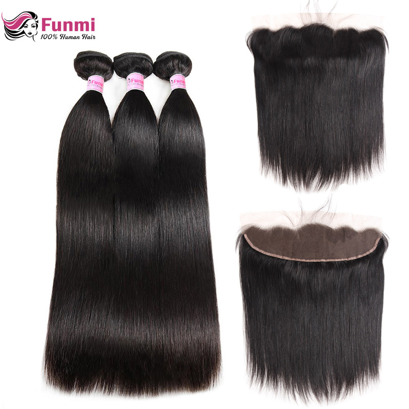 Funmi Brazilian Straight Hair Bundles With Frontal 3 Bundles With Frontal 100% Virgin Human Hair Bundles With Frontal Closure