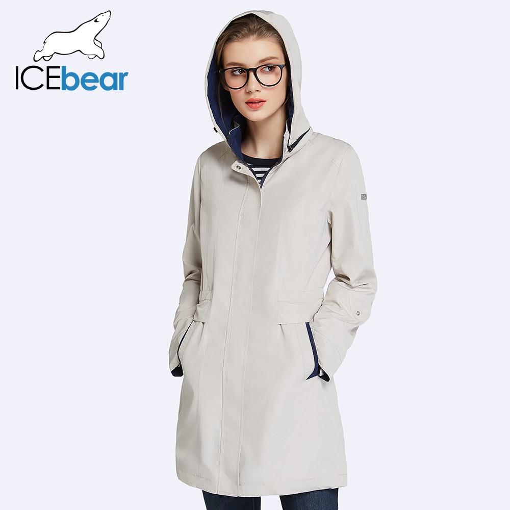 ICEbear 2019 Womens Coat High Quality Fall Long Trench Coat For Women Windbreaker Hat Detachable 17G116D