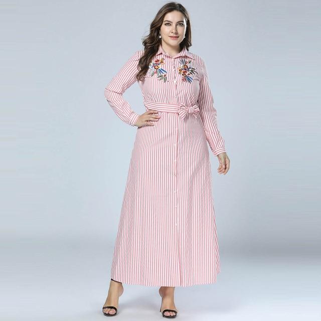 fddad7d753fb Plus Size Red Striped Embroidery Plus Size Shirt Dress Fashion Turndown  Collar Button Up Shirtdress Self-belt M - 4XL