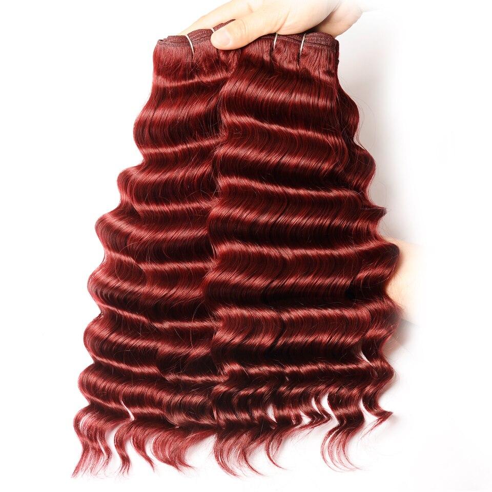Цвет красного вина волосы 4 Связки с Синтетическое закрытие волос рыхлый глубокий Уток индийский 100 Человеческие волосы с Синтетическое зак...