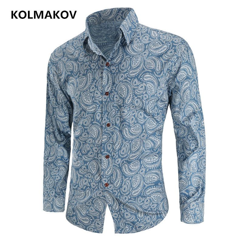 2019 New Arrival Men's Flower Color Shirt Spring Man Shirt Social Casual Fashion Shirt Masculina Chemise Homme Long Sleeve Shirt