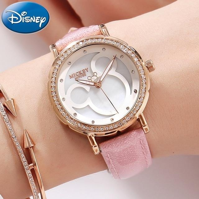 Disney Mickey Girl's Rhinestone Watch 100% Original New Quartz Whatch Pink Leath