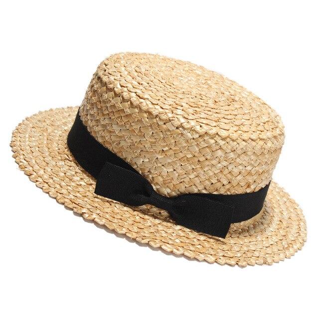 Donne Piatto di Paglia Naturale Cappello di Sun 2017 Primavera Estate  Cappelli Della Spiaggia Di Modo 140db3415de5