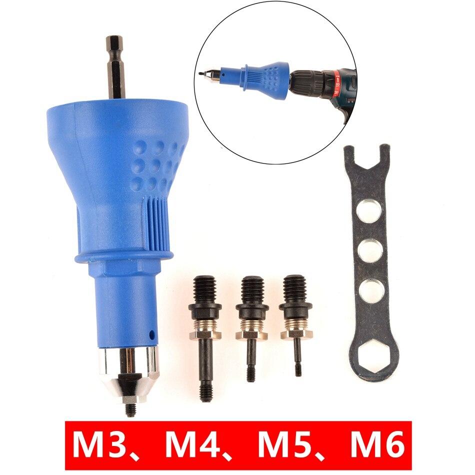 Rivet Nut Tool Adaptor M3 M4 M5 M6 Cordless Drill Adapter Rivet Nut Gun Battery Electric Rivet Drill Riveting Machine