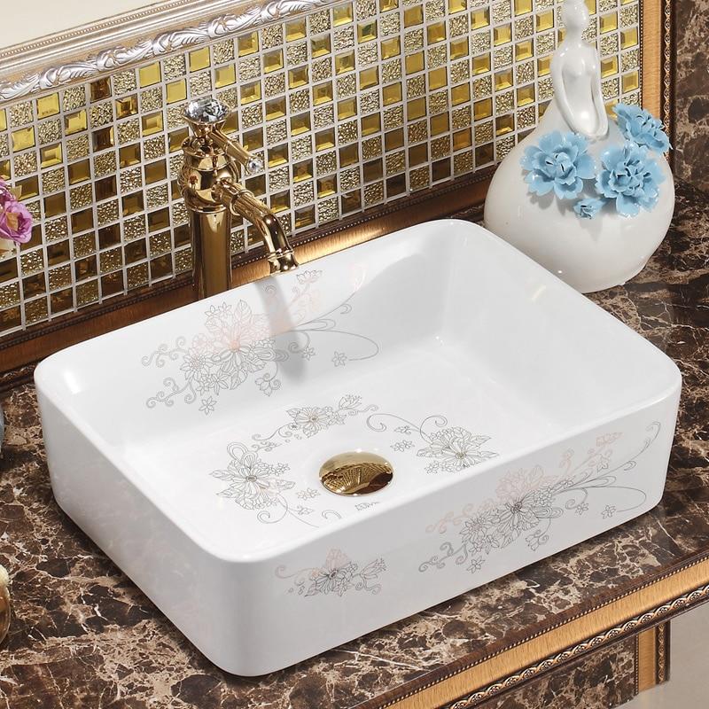 Rectangular Jingdezhen Bathroom Ceramic Sink Wash Basin Porcelain Counter Top Wash Basin Bathroom Sinks Bathroom Sink Antique Basin Bathroom Sink Basin Designbasin Kitchen Aliexpress