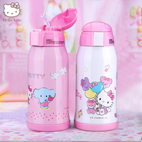 Hello Kitty Stainless Steel Straw Feeing Cup Kids Thermos Kettle Baby Cartoon Suction Thermal Feeding Bottle