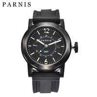 43mm Casual Parnis Automatic Watch Men GMT Mechanical Watches Auto Date Rubber Luminous Waterpoof Swim Automatic Men Watch