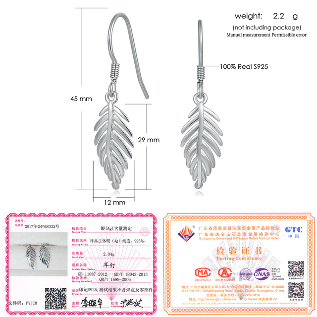 LAMOON 2017 New 2 Sizes Leaves large/Small Eardrop Dangler 100% Real 925-Sterling-Sliver Fine Jewelry Earrings for Women LMEY274