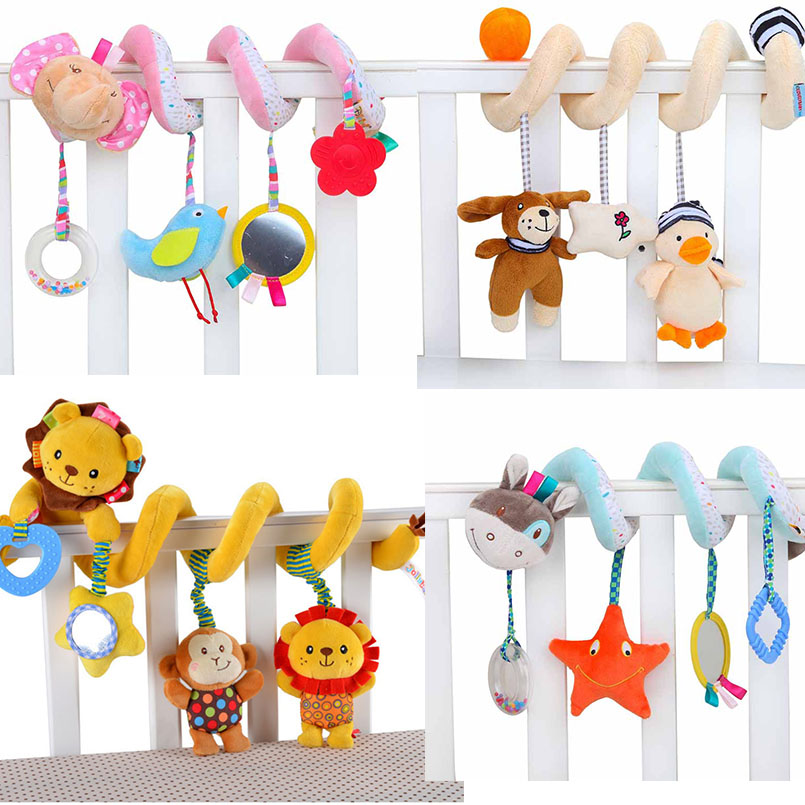 Toy Baby Stroller Educational Baby Toys 0-12 Months Frog Deer Lion Soft Plush Rattle Mobile Toys Hanging Bed Bell For Baby Bed
