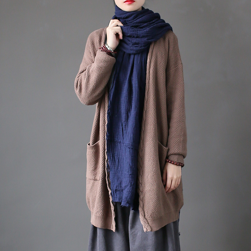 Iadoaixnal 2018 spring open stitch pockets loose long cardigan sweater full sleeve oversize casual knitted coat ...