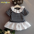 2017 Brand New Girls Summer Dress Girl Striped Dresses Princess Children Lace Kids Mini Dresses for Girls Clothes 2-6Y
