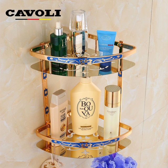 Cavoli European Style E Gold Amber Blue Stainless Steel Antiquetriangle Basket Retro Bathroom Shelf Accessories