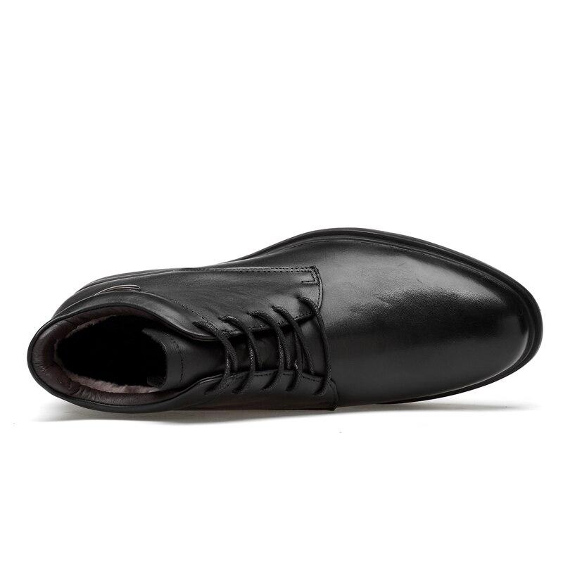 Fur Black Dropshipping S Pelúcia black Outono Moda Fur No Ankle Pele Alta cut Genuíno Botas De Neve Dos Inverno Boots Homens Couro Low Sapatos Qualidade vwqSRH