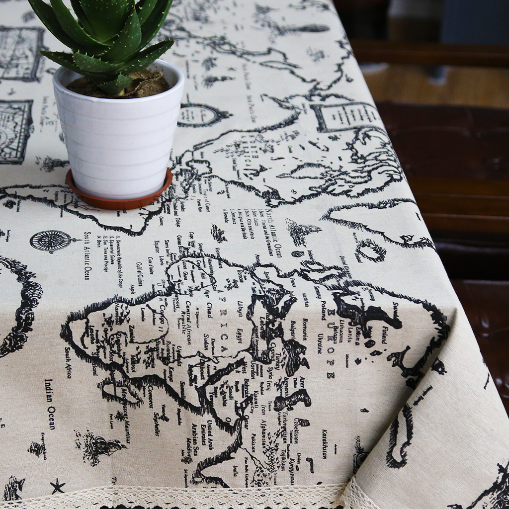 Cotton Linen Table Cloth Country Style Map Printed Multifunctional  Rectangle Table Cover Tablecloth Home Decoration For Kitchen In Tablecloths  From Home ...