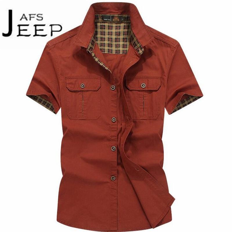 JI PU Red/khaki/army color short sleeve mans cotton leisure shirts,Armys summer autumn 100% algodon camisas masculinas male