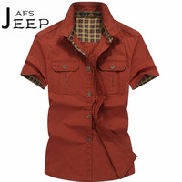 AFS JEEP Red Khaki Army Color Short Sleeve Mans Cotton Leisure Shirts Army S Summer Autumn